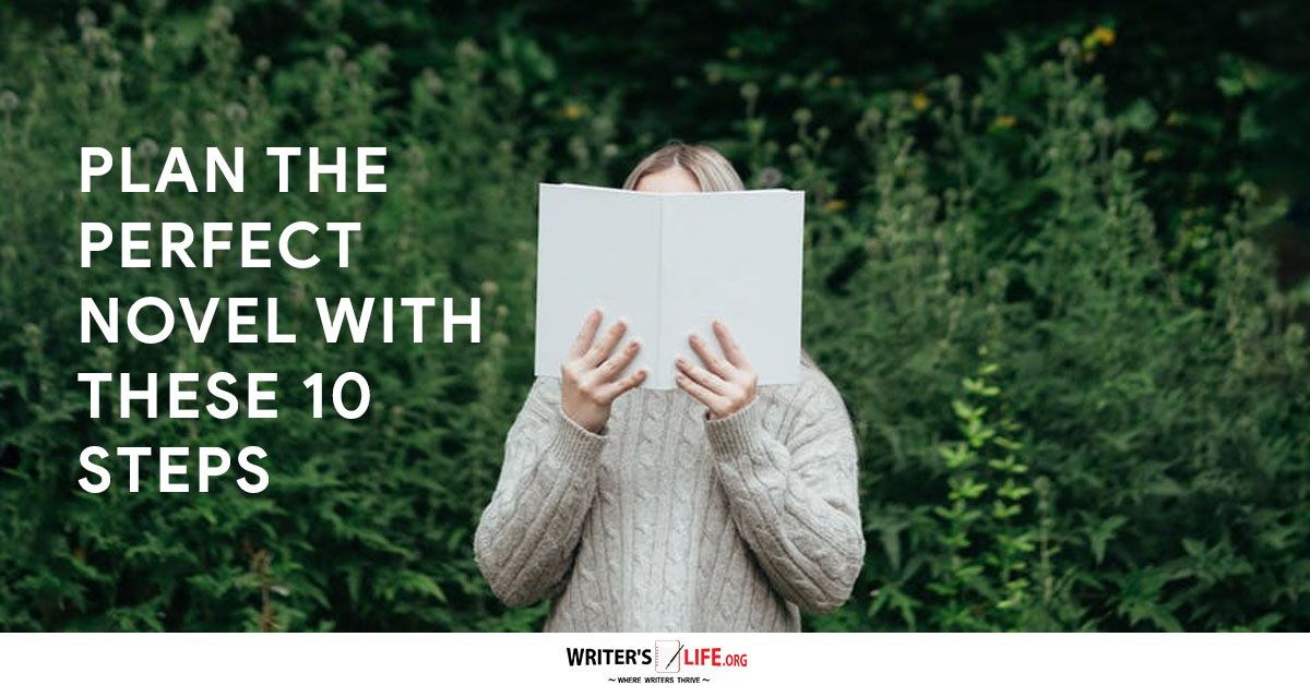 Novel planning made easy! A girl holds a book to her face.