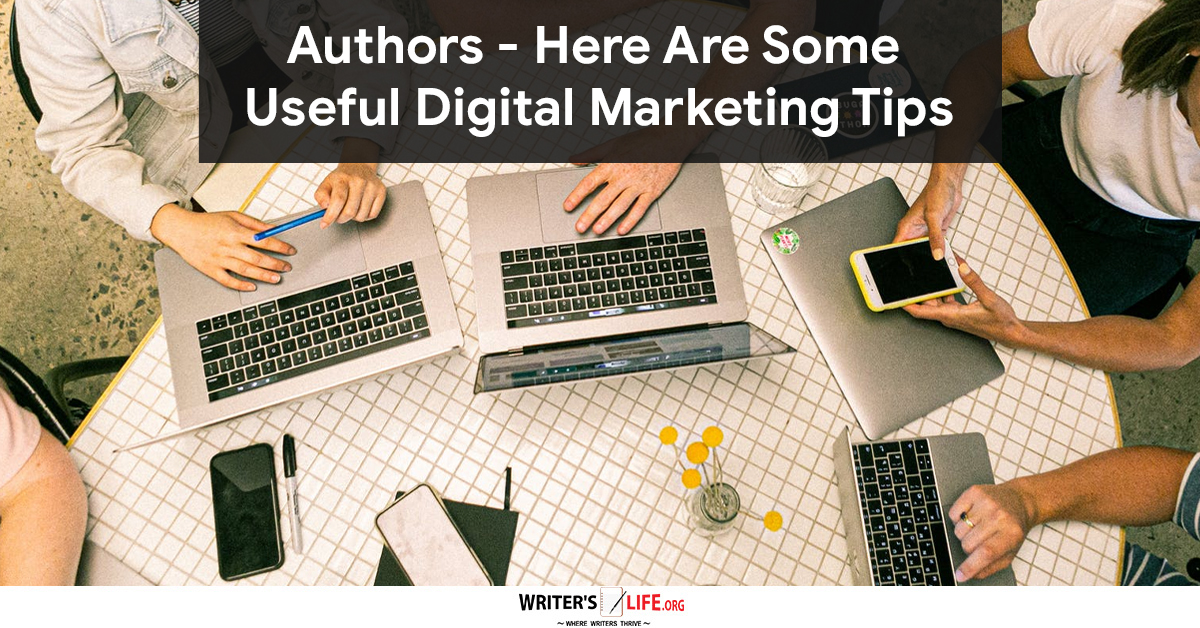 marketing tips for authors - picture of lots of laptops with hands typing